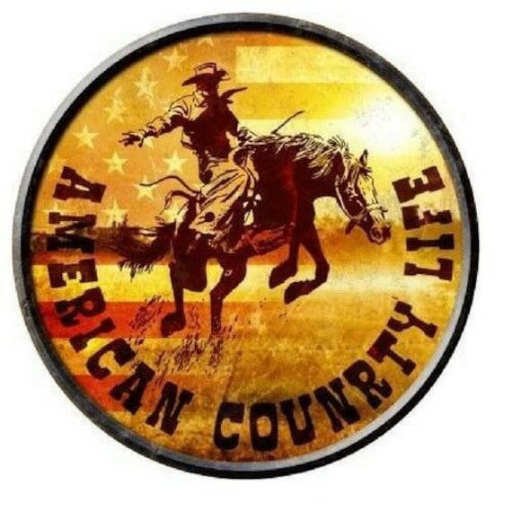 "American Country Life Cowboy Bucking Horse Novelty Metal Round Circular Sign 12/"""
