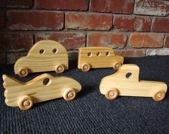 Large Wooden Push Toys (Set of 4) VW Bug, Bat Car, Mini Van & Pickup