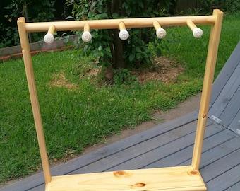 Portable Wooden Pine Jewellery Display Organiser 5 Pegs