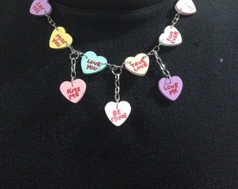 Conversation Hearts (Sweethearts) Necklace - Wood Hearts Painted To Replicate Conversation Hearts Candy And Suspended By A Silver Chain