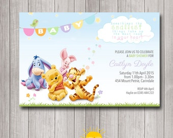 Winnie the pooh baby shower invitations etsy printable custom baby shower invitation winnie the pooh neutral boy or girl filmwisefo