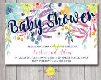 Printable Baby Shower invitation personalised Floral Bright Happy Colours Navy Pinks Yellow Blue  Neutral Girl Boy