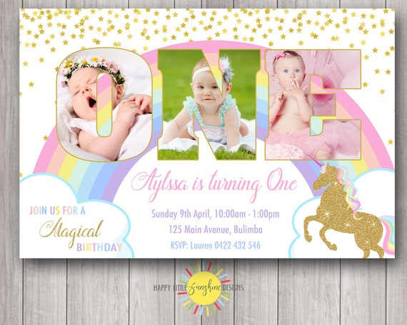 custom printable girl birthday photo word invitation 1st