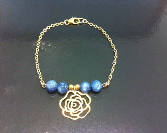 Camellia in gold filled 14 k and kyanite bracelet
