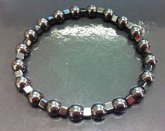 Bracelet with Hematite beads in cube and ball
