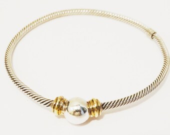 Sterling Silver twisted Wire 925 Bangle Bracelet.