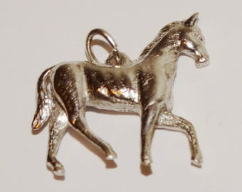 14k Solid White Gold 3D Horse Pendant/Charm.