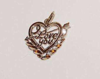 "14k White Gold ""I LOVE YOU"" Heart pendant."