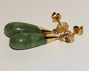 14k YG Natural Jade Teardrop Earrings.