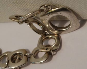 Tiffany & Co Signed Sterling Silver Cushion Square Link Bracelet.