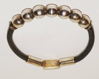 Vintage Sterling Silver & Leather Handmade Bead Bracelet.