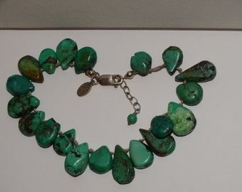 """Sterling Silver 8"""" Adjustable to 9"""" Inches Individually Knotted Turquoise Stone Bracelet"""