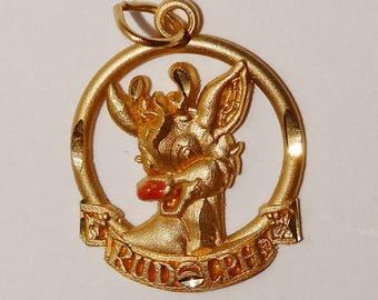 14k Yellow Gold  Rudolph Xmas Reindeer Van Dell Designer Signed Pendant/Charm.