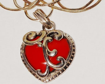"Vintage Sterling Silver Filigree Red Heart Stone 17.5"" Necklace."