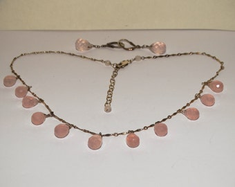 Victorian Sterling Natural Faceted Light Pink Quartz Crystal Tear Drop Earrings & Necklace.