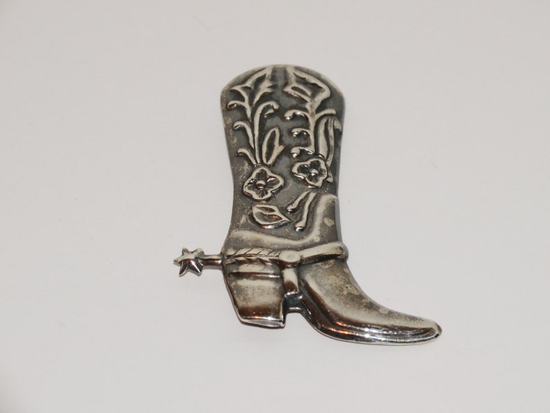 Sterling Silver Cowgirl Boot  Spur Brooch.