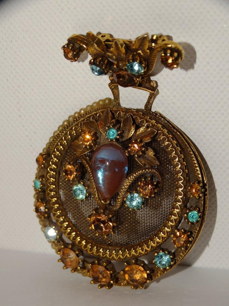 Victorian ERA Large Brass Multicolor stone Brooch.