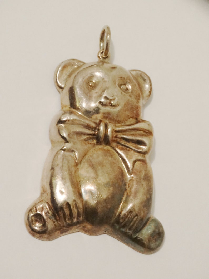 Sterling Silver Large 2 14 Tall x 1 12 Inch Bear Pendant.