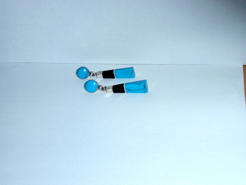 Sterling Silver 950 Mexico Stamped Inlaid Genuine TurquoiseOnyx Large Earrings.