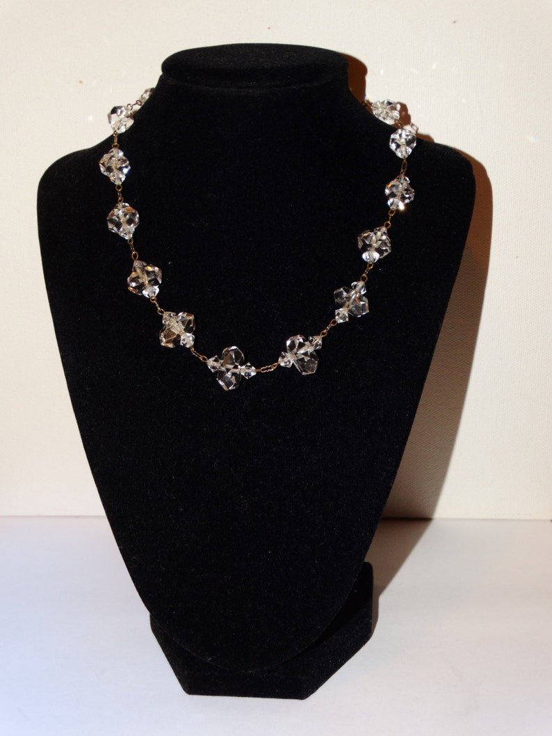 Vge Sterling Victorian Faceted Rock Crystal Art Deco Made In Germany Gorgeous Necklace.