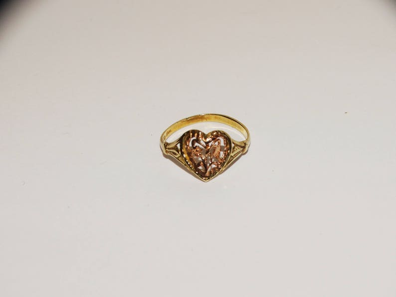 10k RoseYellow Gold Heart Ring size 4.