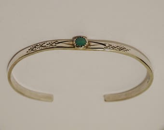 Navajo Sterling And Designer Signed Turquoise Cuff Bracelet.
