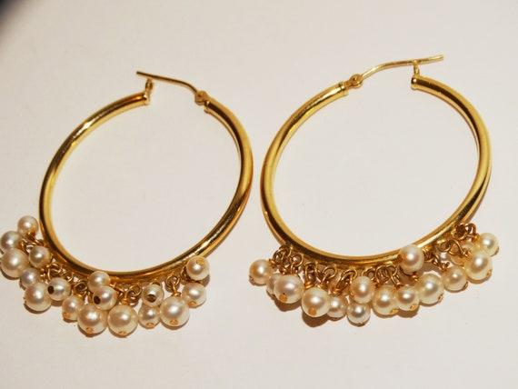 14k Yellow Gold Pearl Hoop Earrings.