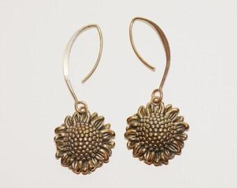 Sterling Silver Large SunFlower Earrings.