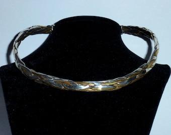 Vintage Sterling Brass Stamped 76 grams Chocker Slider Necklace.
