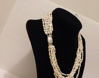 "Vintage Seven Strands of Rice Pearl 16"" Necklace."