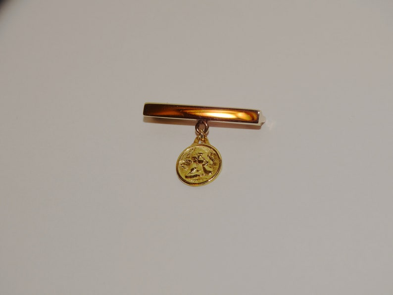 10k Yellow Gold Stamped Dangling Angel Charm Bar Brooch.