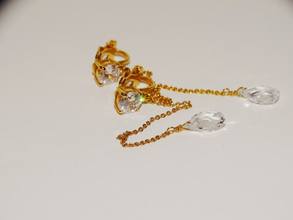 """Gold Tone Faceted Crystal 3"""" Dangling Clip-on Earr"""