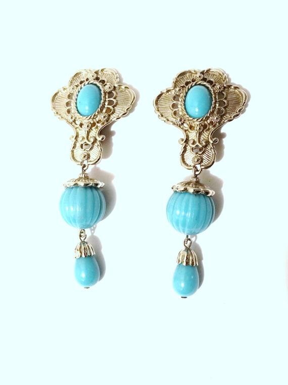 BARRERA Faux Turquoise Clip - on Dangling Earrings