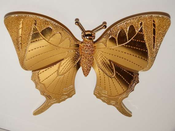 RARE Christian Dior HUGE Gold Tone 3D Butterfly Br