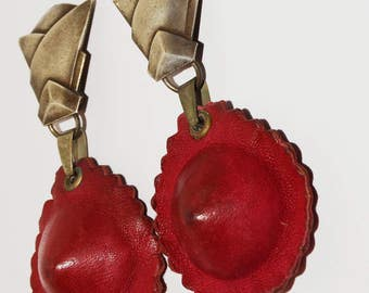 1930's Dear To Wear This One of a Kind Lovely Large Leather Earrings.