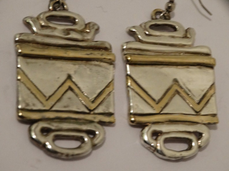 Huge Royal 925 Two Tone Sterling Silver Earrings.