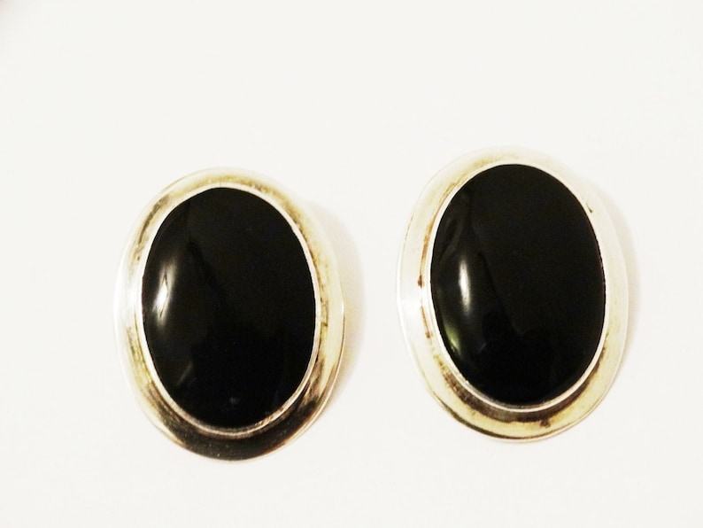 Sterling Silver Large Oblong Genuine Black Onyx Earrings.