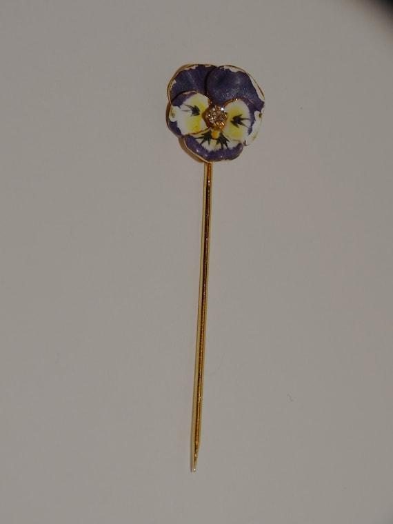 Art Nouveau 14k Genuine Diamond Enamel Pansy Stic… - image 2