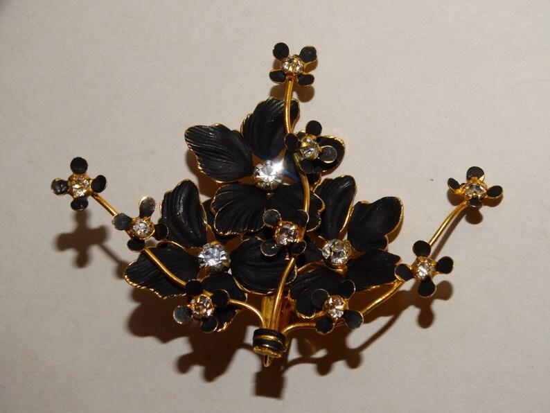 Vge Sandor Stamped Gold Plated Delicate /& detail 3D Enamel Flower WRhinestones Large Earrings.