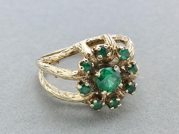 Vintage Emerald Cluster 10k Gold Ring Gold Emerald Flower Etsy