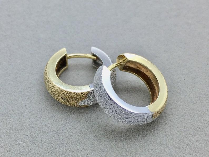 b7fd6ed856f4e Vintage Birks 18k White and Yellow Gold Hoop Earrings, Two Tone Huggie  Earrings, Small Gold Hoop Earrings
