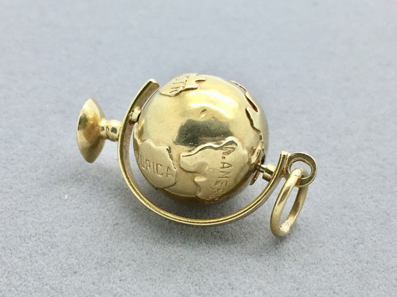 Vintage 18k Gold 3 D Spinning Globe Pendant Charm, Antique Gold Globe Pendant, Vintage Mechanical Globe Charm by Etsy