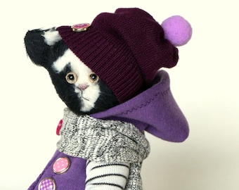 Teddy Bear style Artist  Dressed Black and White Cat handmade collectible toy