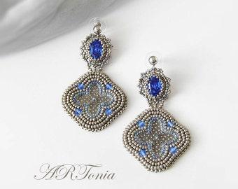 Edwardian antique silver bead embroidery Swarovski earrings, OOAK beadwork, beadwoven statement earrings, drop earrings, Sapphire earrings