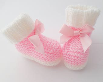 Baby booties, pink booties, white booties, hand knitted baby booties, knitted baby booties, new baby shower gift, baby winter boots