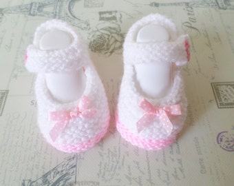Hand Knitted Baby Girl Booties Mary Jane Shoes, Premature to  3 months