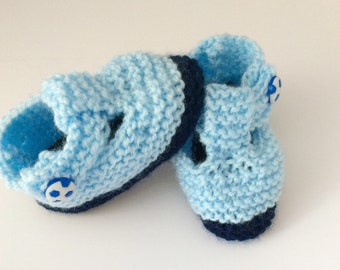 Baby boy shoes, baby booties, blue baby booties, T bar boys shoes, hand knitted baby, blue football shoes, blue booties, baby shower gift