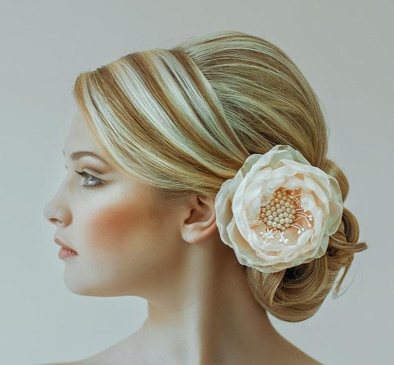 Bridal Chiffon Hair Flower Clip Floral Wedding Hair Piece Flower Girls Bridesmaids Hair Clip Peach Champagne Ivory Hair Piece With Pearls