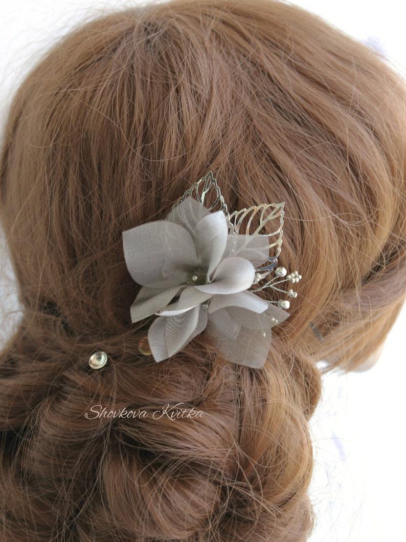 bdab86930061 Taupe Gray Silk Organza Flower Hair Clip Wedding Floral Hair