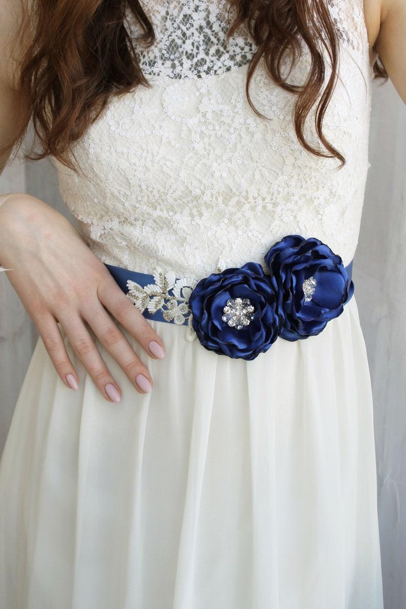 7d6983f878 Wedding Cobalt blue flower sash Blue and white Bridal floral